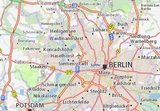Berlin Potsdam Karte.Karte Stadtplan Berlin Tegel Flughafen Viamichelin