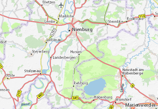 Husum Karte.Karte Stadtplan Husum Viamichelin