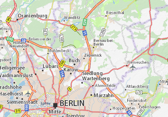 Map Of Zepernick Michelin Zepernick Map ViaMichelin - Berlin map of tourist attractions