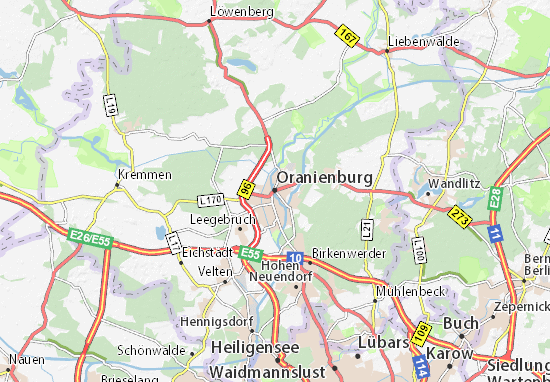Karte Stadtplan Oranienburg