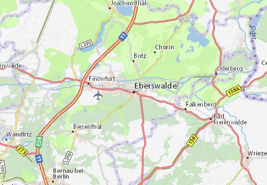 Karte Stadtplan Eberswalde Viamichelin