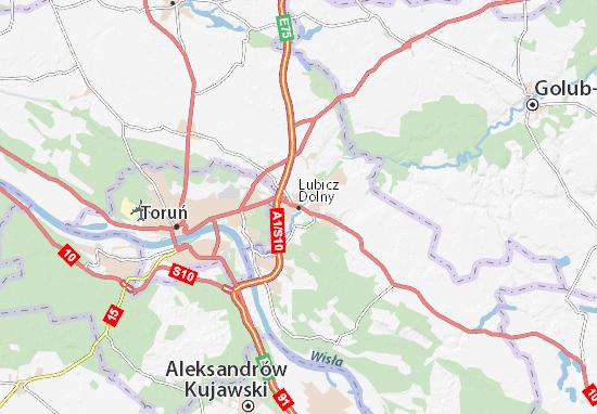 Karte Stadtplan Lubicz Dolny