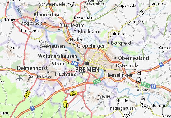 bremen umland karte Karte, Stadtplan Bremen   ViaMichelin