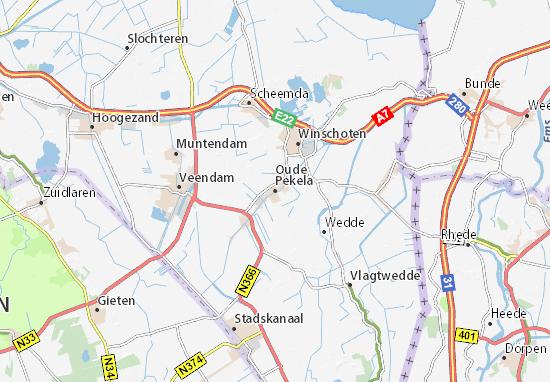 Karte Stadtplan Oude Pekela