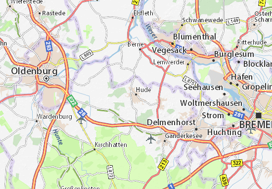 Hude Map Detailed Maps For The City Of Hude ViaMichelin - Oldenburg map