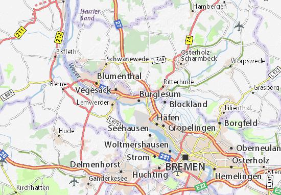 karte von bremen und umgebung Karte, Stadtplan Lesum   ViaMichelin
