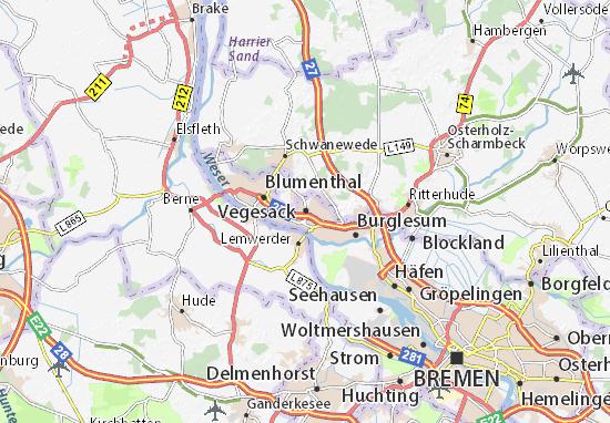 bremen nord karte Karte, Stadtplan Vegesack   ViaMichelin