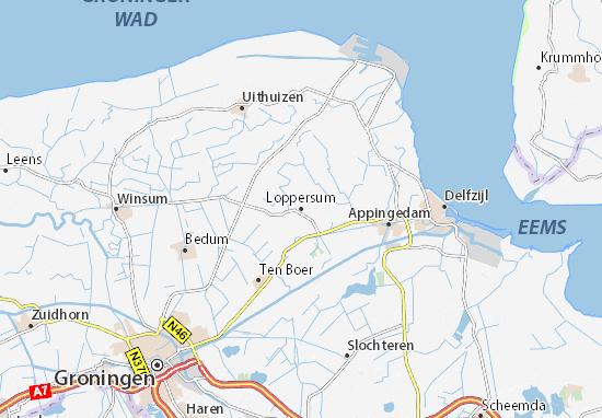 Kaart Plattegrond Loppersum