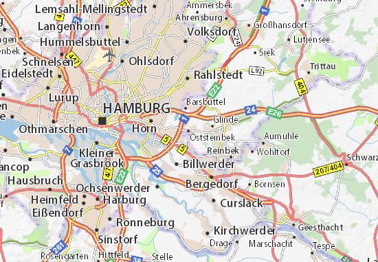 Kaart Plattegrond Oststeinbek