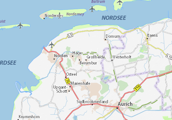 Karte Stadtplan Großheide