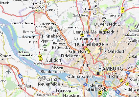 Kaart Plattegrond Halstenbek