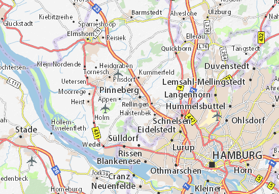 Map Of Pinneberg Michelin Pinneberg Map ViaMichelin - Quickborn germany map