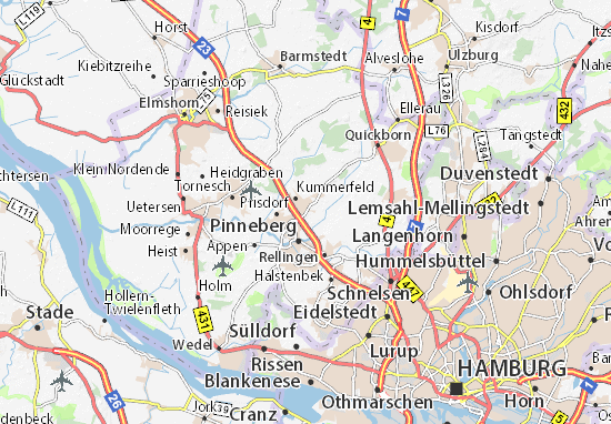 Karte Stadtplan Borstel-Hohenraden