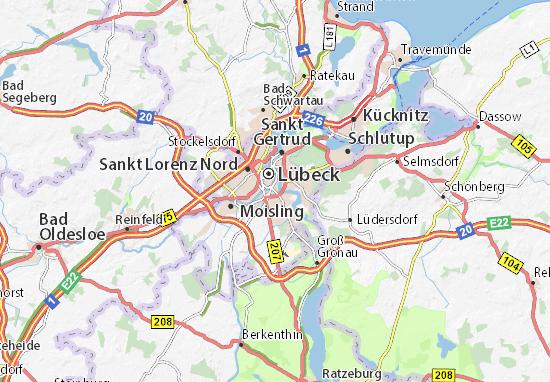 Karte Lübeck.Karte Stadtplan Sankt Jürgen Viamichelin