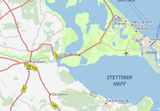 Usedom Karte Deutschland.Karte Stadtplan Usedom Viamichelin
