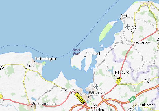 Karte Insel Poel Und Umgebung.Karte Stadtplan Poel Viamichelin