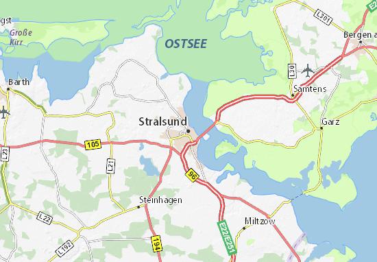 Stralsund Karte.Karte Stadtplan Stralsund Viamichelin