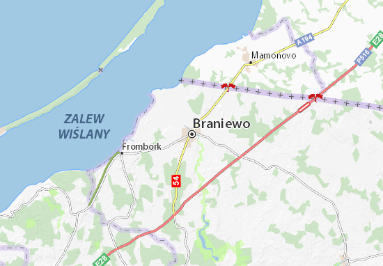 Mapa Braniewo