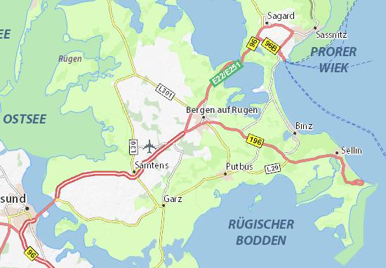 Karte Rügen.Karte Stadtplan Rügen Viamichelin
