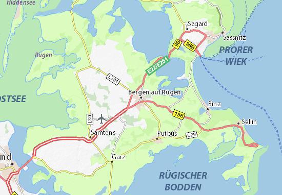 Karte Rügen.Karte Stadtplan Bergen Auf Rügen Viamichelin