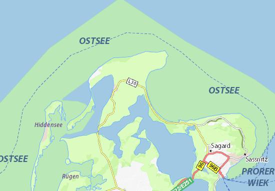 Ostsee Karte Rügen.Karte Stadtplan Breege Viamichelin