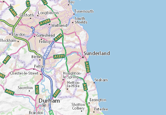 Sunderland Map: Detailed maps for the city of Sunderland - ViaMichelin