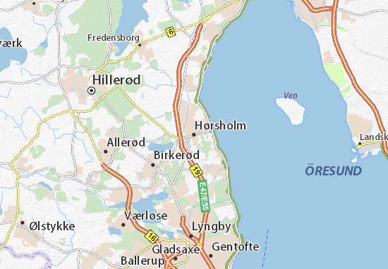 Kaart Plattegrond Hørsholm