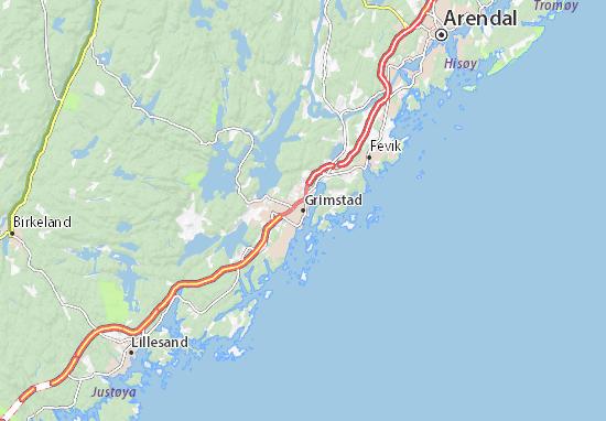 Karte Stadtplan Grimstad