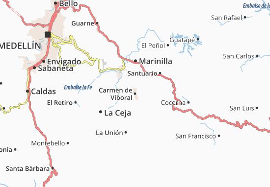 Mapa Carmen de Viboral  plano Carmen de Viboral  ViaMichelin