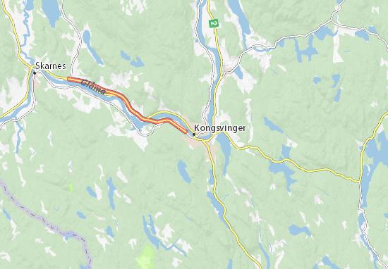 Kaart Plattegrond Kongsvinger