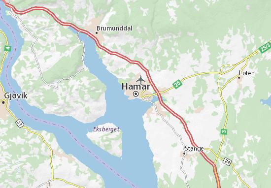 Map Of Hamar Michelin Hamar Map ViaMichelin - Norway map hamar