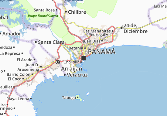 Map Of Panama City Michelin Panama City Map ViaMichelin - Map panama