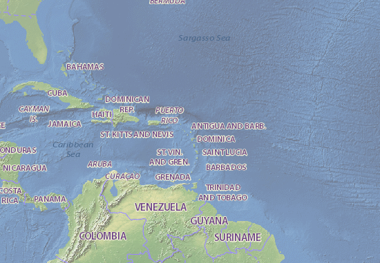 Barbados Cartina Geografica.Mappa Antigua E Barbuda Cartina Antigua E Barbuda Viamichelin