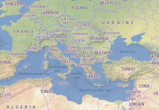 Kaart Plattegrond Crna Gora