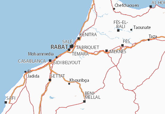 Carte-Plan Rabat-Salé-Zemmour-Zaer