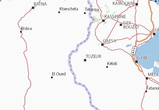 Detailed map of Tozeur - Tozeur map - ViaMichelin