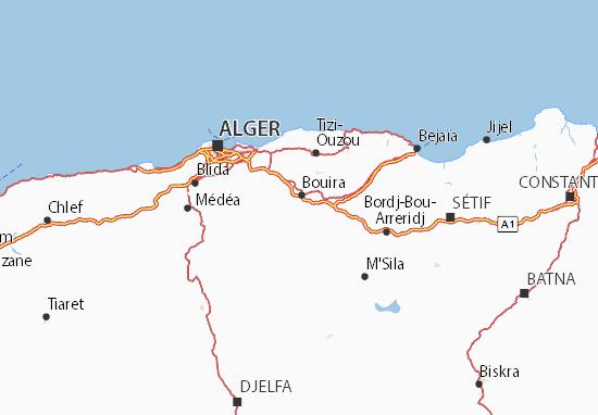 Detailed map of Bouira - Bouira map - ViaMichelin