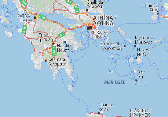Map of Attik Michelin Attik map ViaMichelin – Athens Tourist Attractions Map