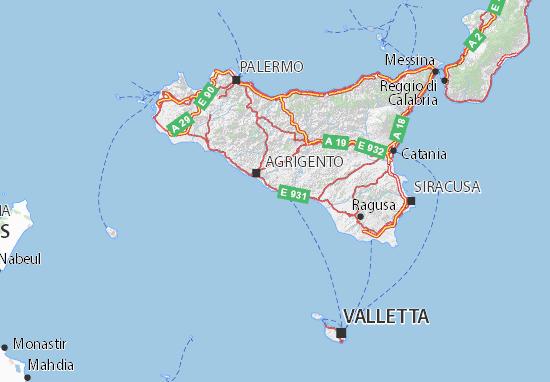 Immagini Cartina Della Sicilia.Mappa Michelin Sicilia Pinatina Di Sicilia Viamichelin