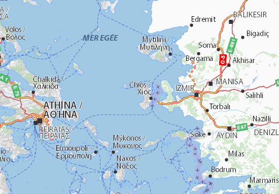 Map of Chios - Michelin Chios map - ViaMichelin