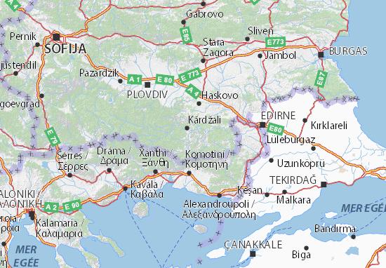 Mapa Plano Kărdžali
