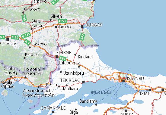 Map of Kırklareli - Michelin Kırklareli map - ViaMichelin