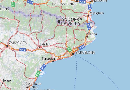 Carte Espagne Nord Est.Carte Detaillee Catalunya Plan Catalunya Viamichelin