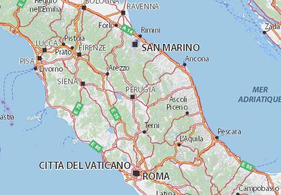 Perugia Italy Map Map of Perugia   Michelin Perugia map   ViaMichelin
