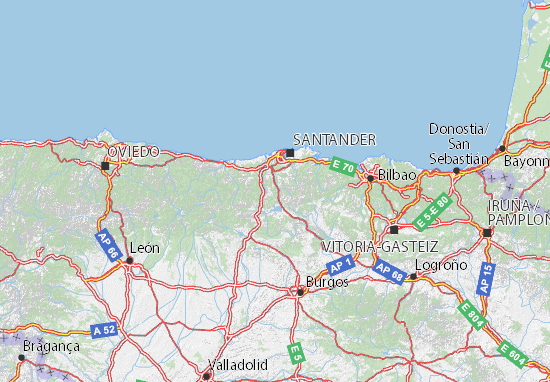 Mapa Turistico De Asturias Y Cantabria.Mapa Cantabria Plano Cantabria Viamichelin