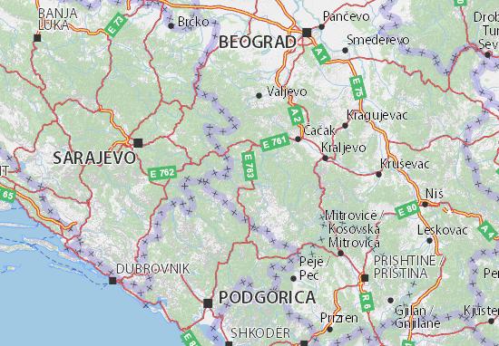 Mapa Plano Zlatiborski okrug