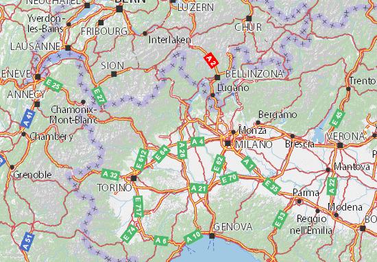 Carte Italie Novara.Carte Detaillee Novara Plan Novara Viamichelin