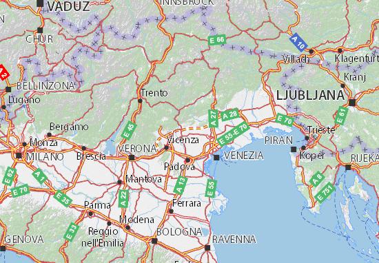 Cartina Friuli E Veneto.Mappa Michelin Veneto Pinatina Di Veneto Viamichelin