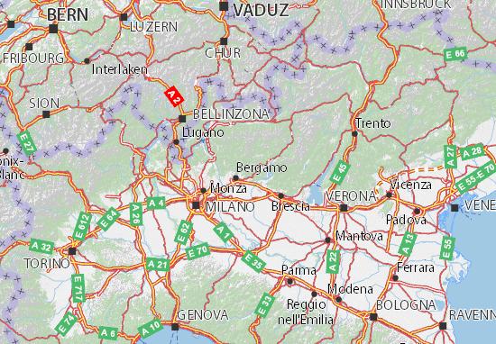 Bergamo Sulla Cartina Geografica.Mappa Bergamo Cartina Bergamo Viamichelin
