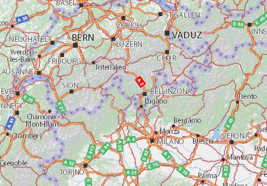 Svizzera Cartina.Mappa Ticino Cartina Ticino Viamichelin